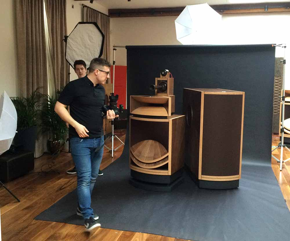 On location product photography with the best speakers in the world